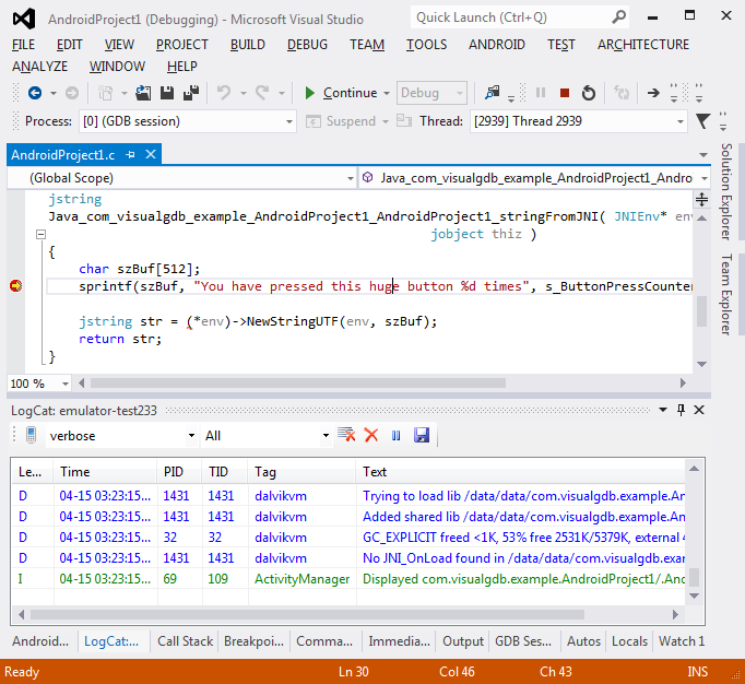 VisualGDB: Integrated Android Log Viewer