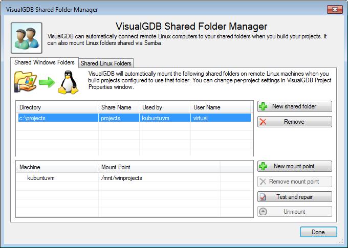 VisualGDB: SMB Mount Manager