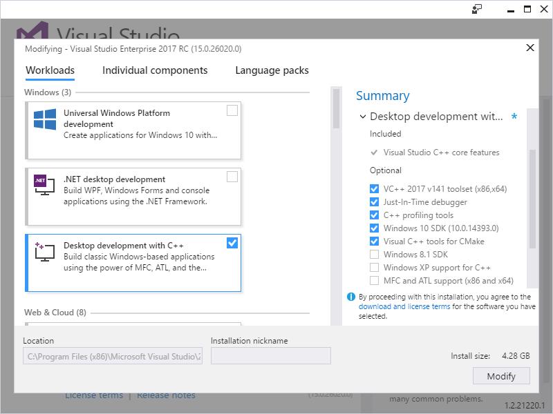 VisualGDB - Installing Visual C++ Support