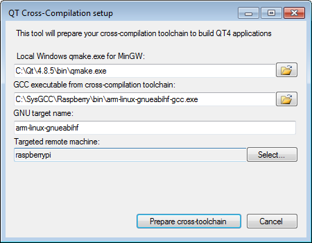 QT Configurator for windows cross-toolchains