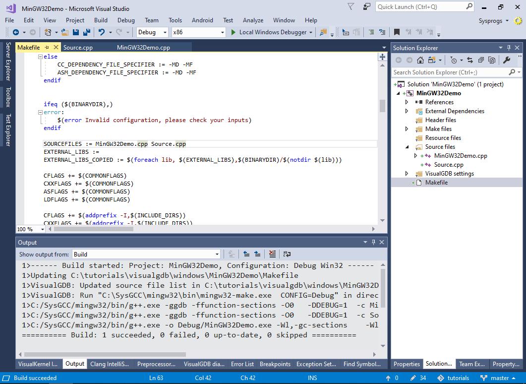 Using Visual Studio to debug MinGW applications – VisualGDB