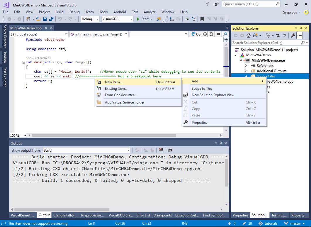 Creating MinGW64 applications with Visual Studio – VisualGDB Tutorials