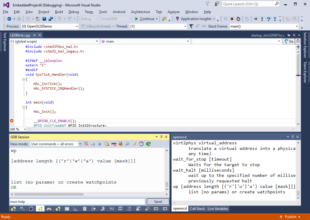 Configuring OpenOCD for JTAG debugging – VisualGDB Tutorials