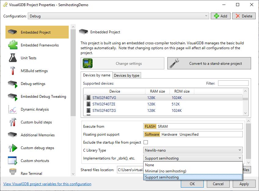 Using Semihosting for Debug Output with VisualGDB – VisualGDB Tutorials