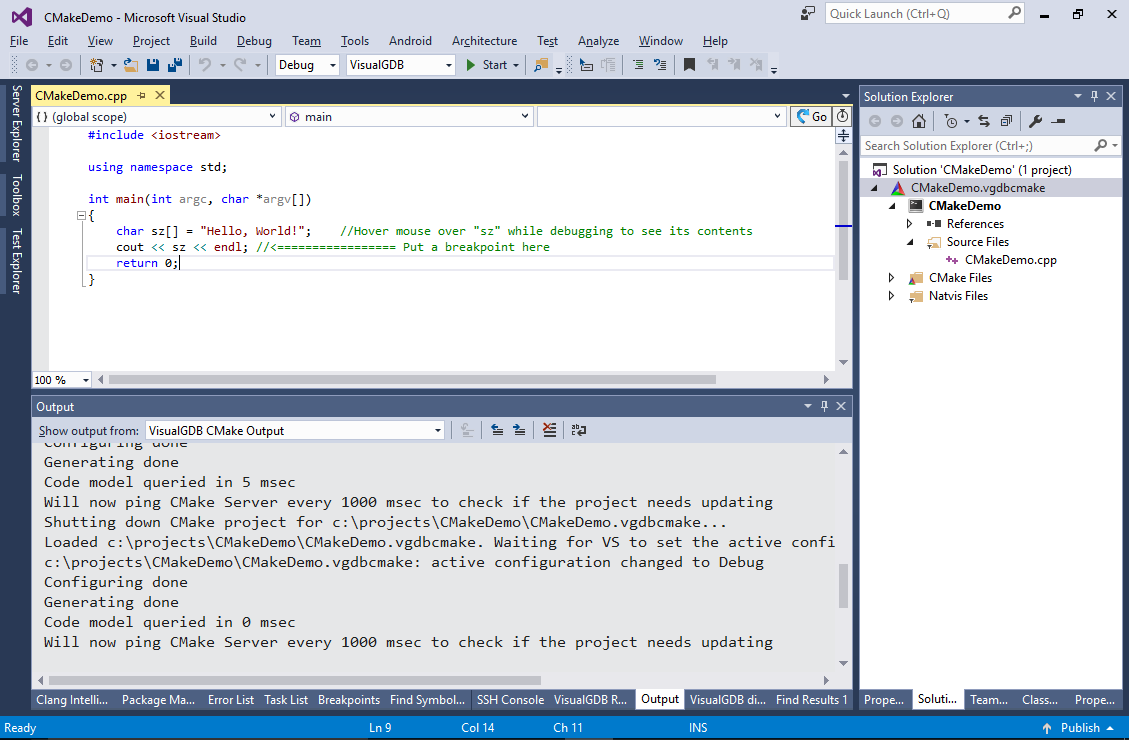 Creating CMake Linux projects with Visual Studio – VisualGDB