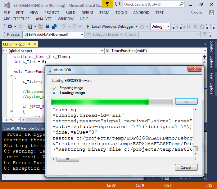 Developing projects for the ESP8266 WiFi chip with Visual Studio