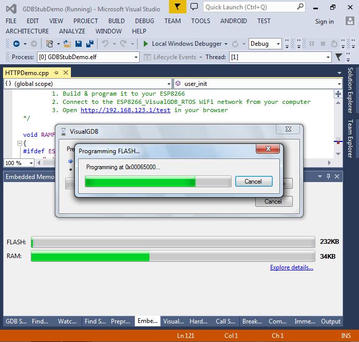Debugging ESP8266 firmware with the UART GDB Stub – VisualGDB Tutorials