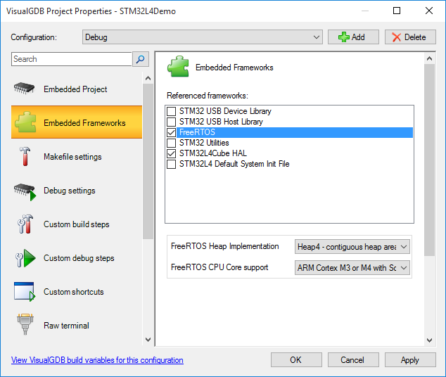 Developing firmware for STM32L4 devices with Visual Studio