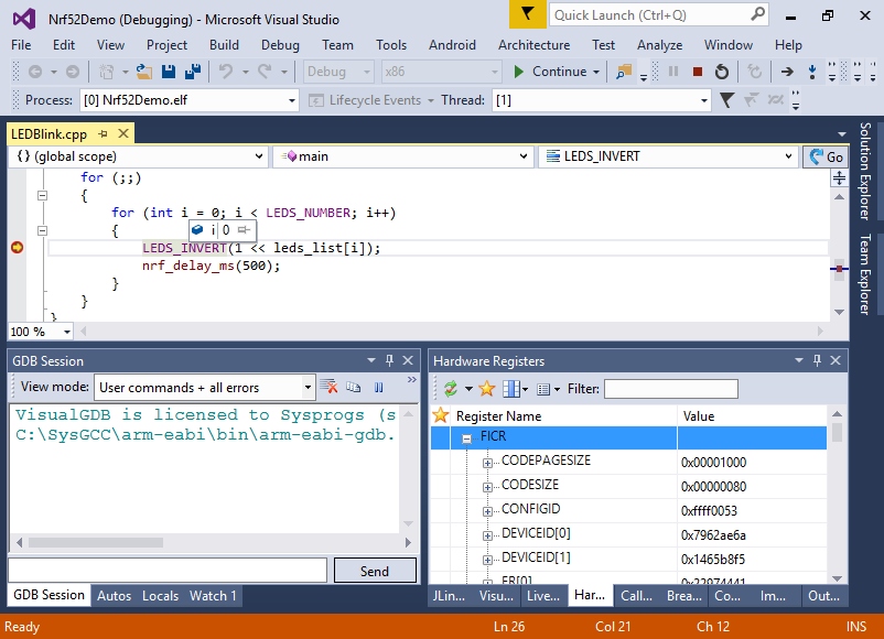 Developing Nordic nRF52 code with Visual Studio – VisualGDB Tutorials