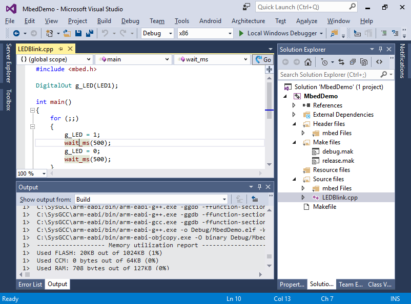 Developing Mbed firmware with Visual Studio – VisualGDB