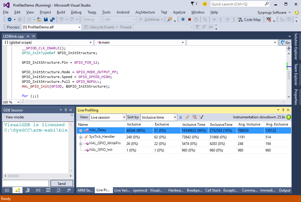 Precise embedded profiling with VisualGDB – VisualGDB Tutorials