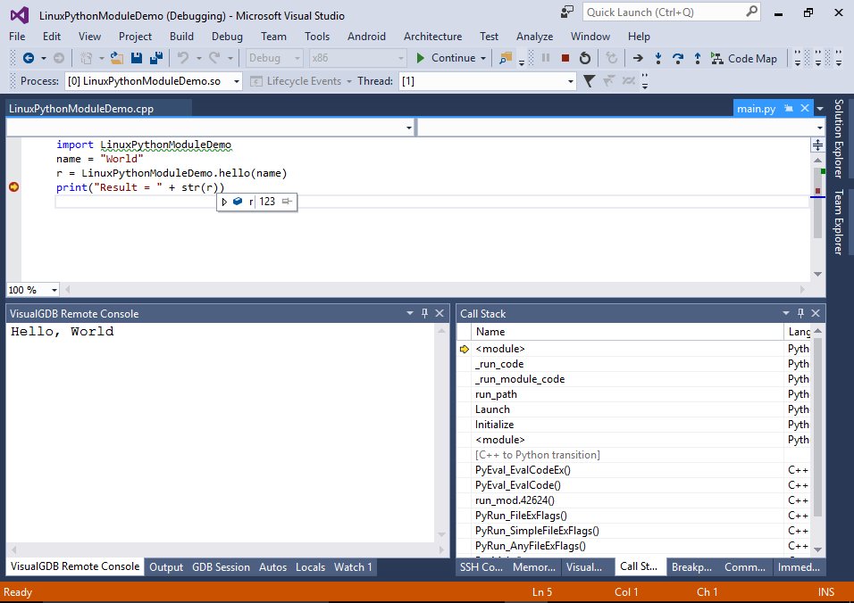Developing Linux C++ Python Modules with Visual Studio
