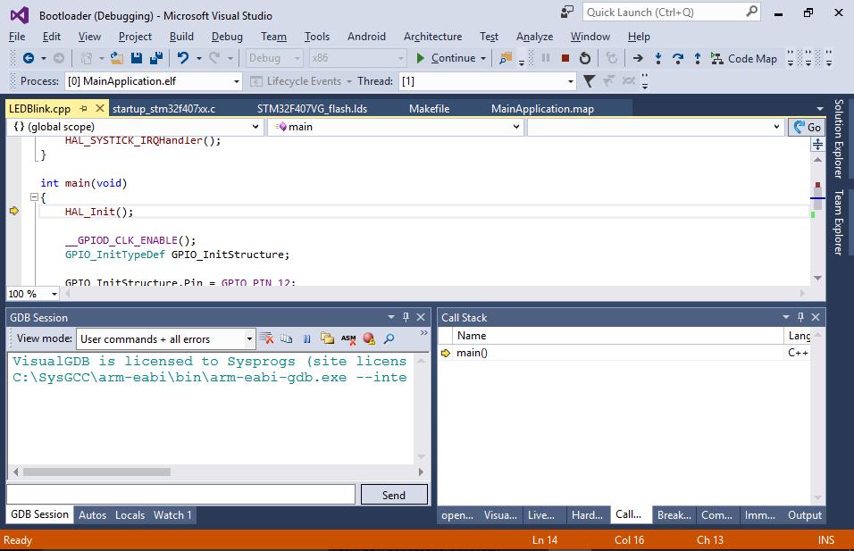 Creating an embedded bootloader with VisualGDB – VisualGDB Tutorials