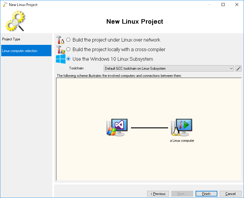 Using Windows 10 Linux Subsystem to develop Linux applications