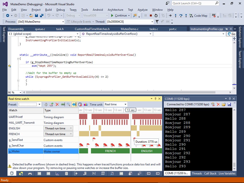 Using FreeRTOS Mutexes to Synchronize Threads – VisualGDB Tutorials