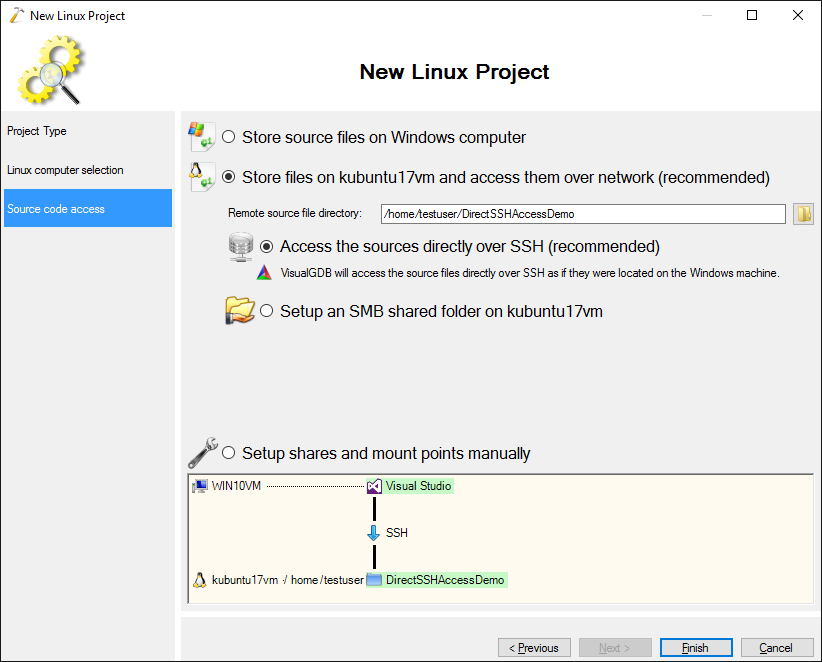 Configuring Visual Studio to access Linux Projects directly via SSH
