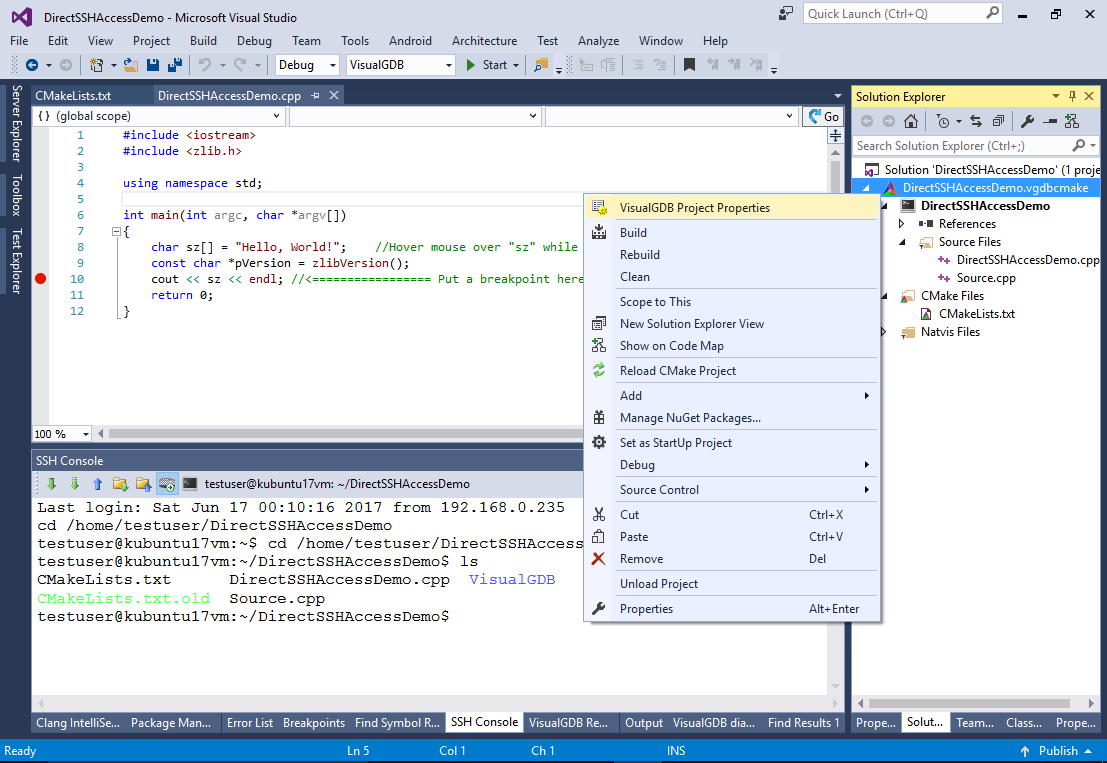 Configuring Visual Studio to access Linux Projects directly