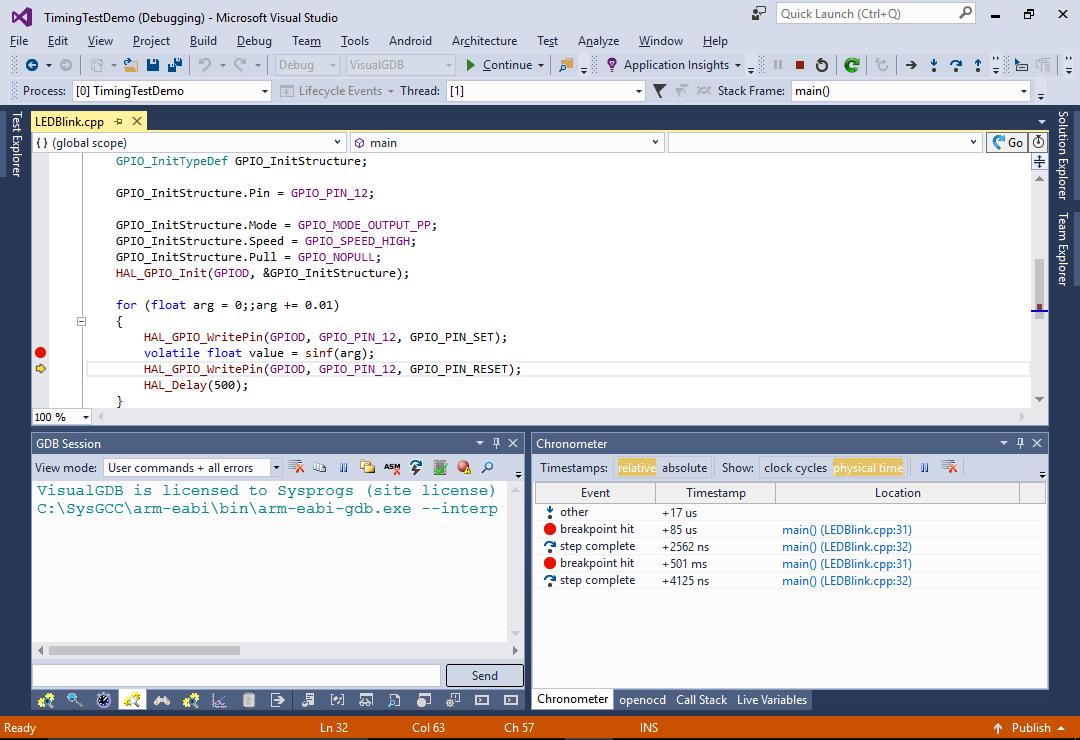 Using Chronometer to Quickly Analyze your Program Timing – VisualGDB