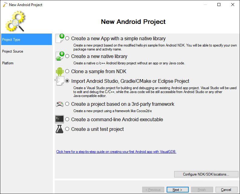 Importing CMake-based Android Studio projects in VisualGDB