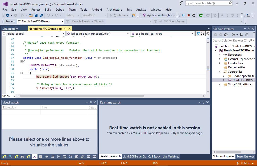 Using FreeRTOS-with Nordic nRF5x Devices – VisualGDB Tutorials