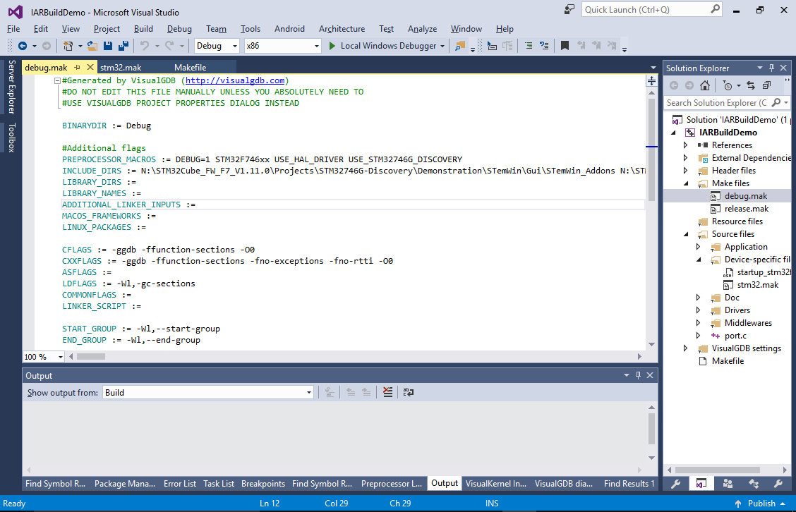 Using IAR ARM Compiler with Visual Studio and VisualGDB – VisualGDB