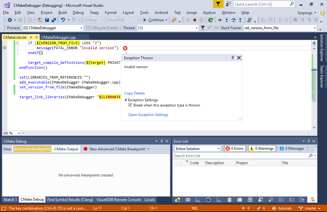 Debugging CMake Scripts with Visual Studio – VisualGDB Tutorials