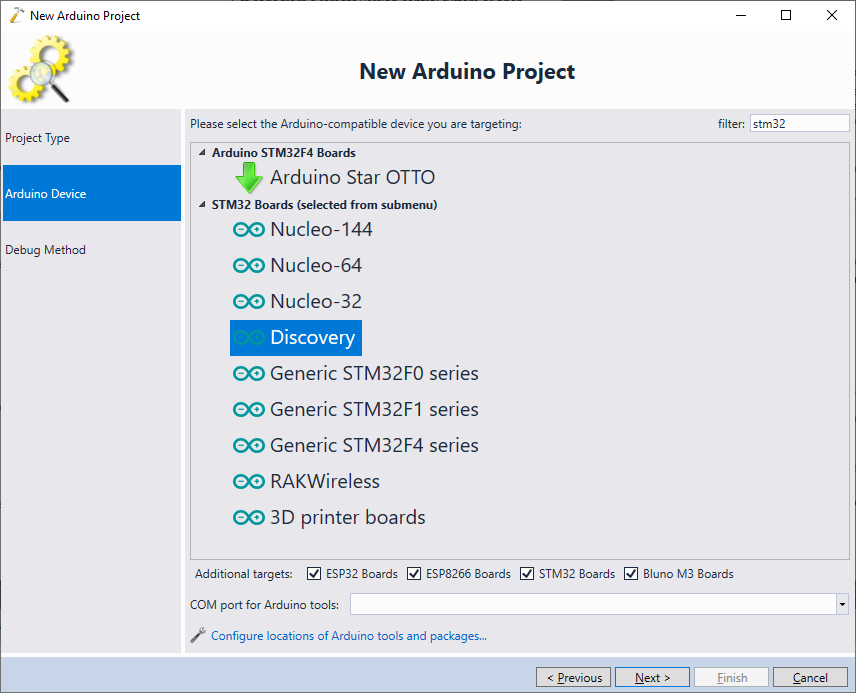 Developing Arduino code for STM32 boards with Visual Studio