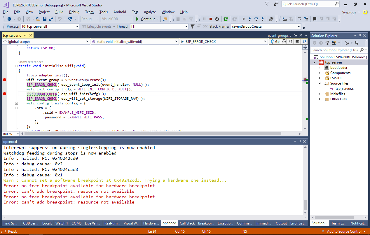Debugging ESP8266 projects built with RTOS SDK 3 x