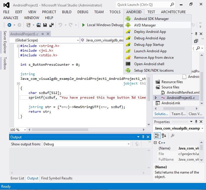 Using Visual Studio to Develop Native Android Code – VisualGDB Tutorials