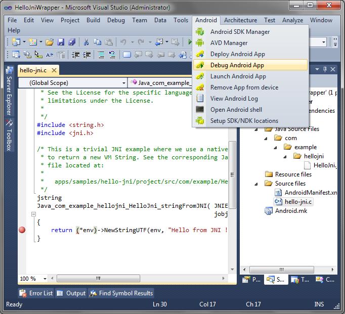 Co-debugging hello-jni with Eclipse and Visual Studio