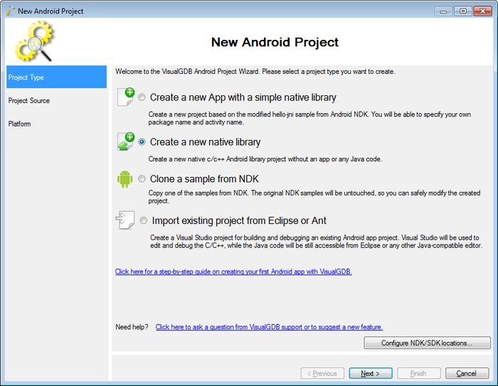 Creating native Android Libraries with Visual Studio