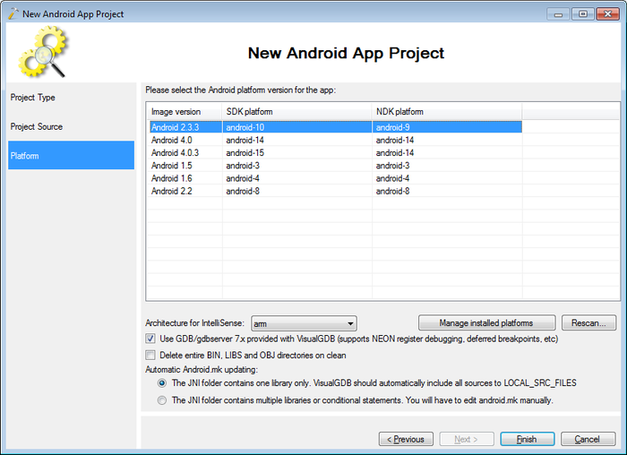 Debugging the native-activity project with Visual Studio