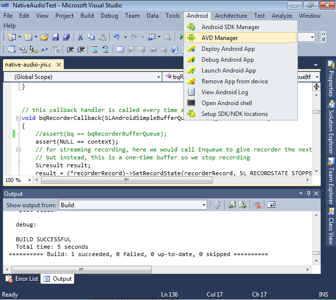 Debugging the native-audio project with Visual Studio