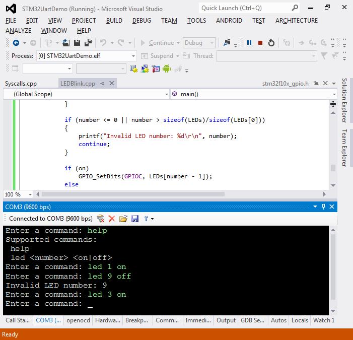 Using the STM32 UART interface – VisualGDB Tutorials