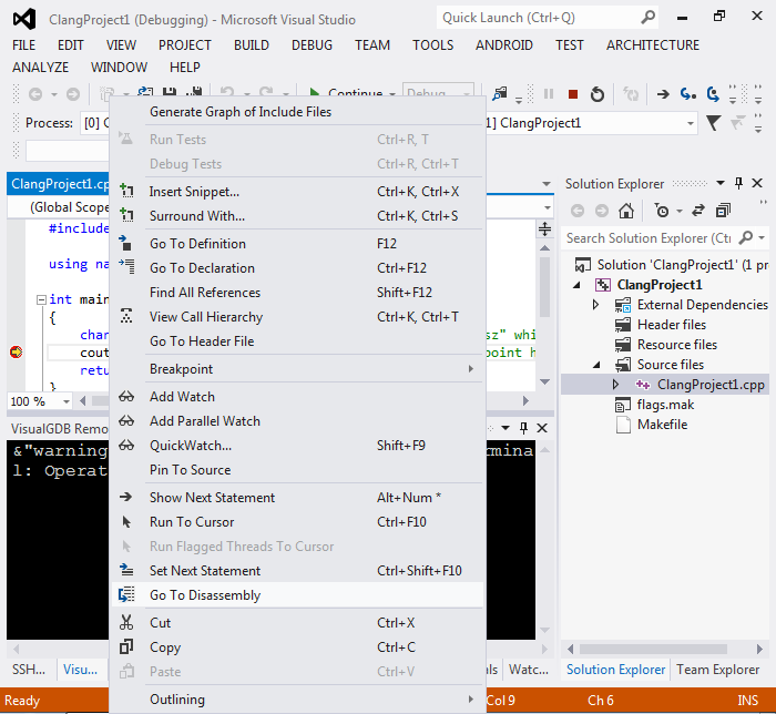 Creating llvm/clang Linux projects with Visual Studio