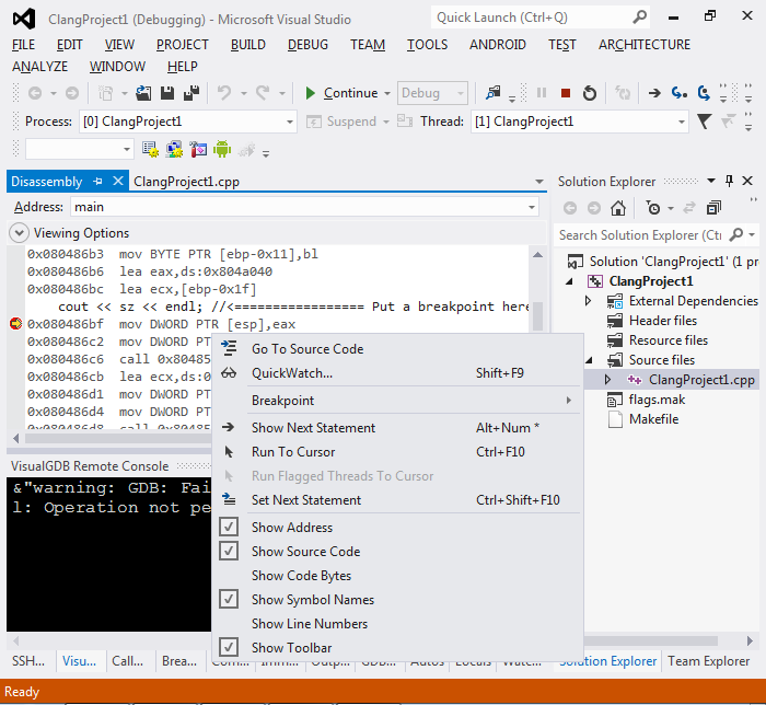 Creating llvm/clang Linux projects with Visual Studio – VisualGDB