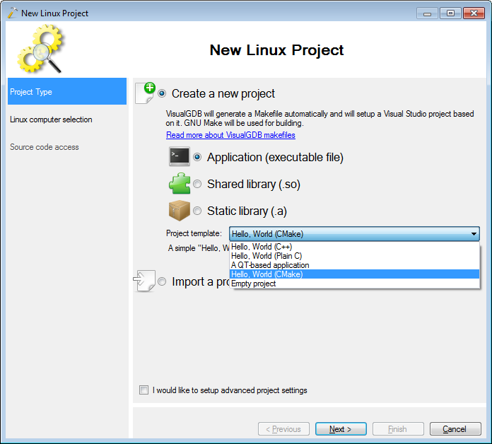 how to create cmake project