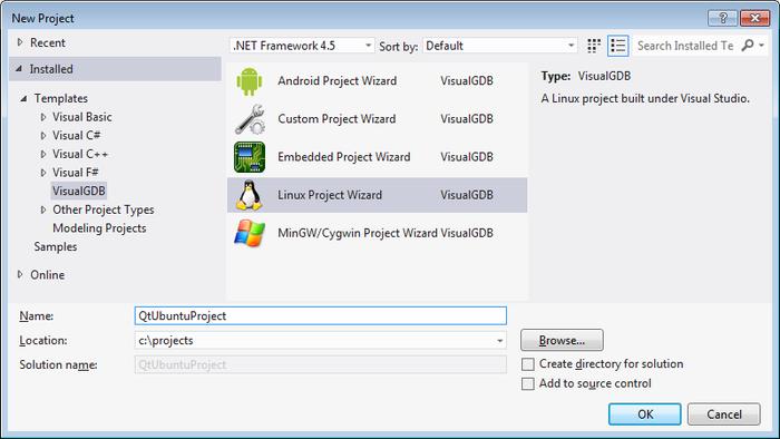 Creating Qt5 projects on Ubuntu with Visual Studio