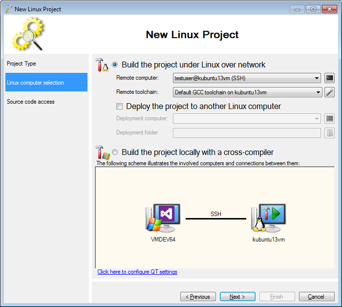 Creating Qt5 projects on Ubuntu with Visual Studio